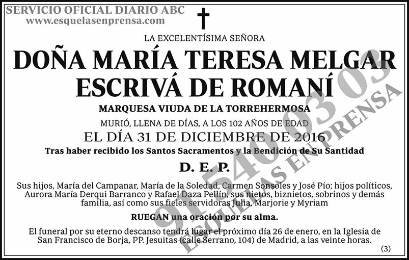 María Teresa Melgar Escrivá de Romaní